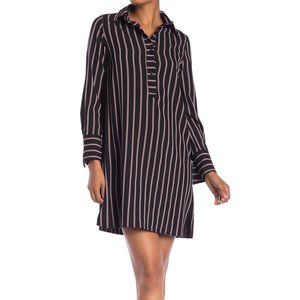 NWT Max Studio Black and Red Stripe Shirt Dress
